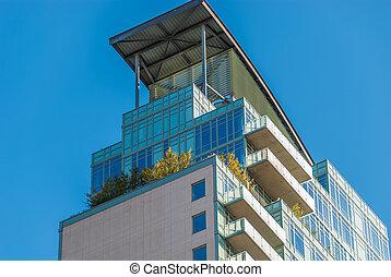 ペントハウス, 青, 建築である, 現代, デザイン, 贅沢, 背景, 上側, マンハッタン, 光景