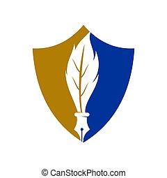 ペン, アイコン, 正義, ベクトル, デザイン, 隔離された, 会社, 法律, ロゴ, 保護, テンプレート