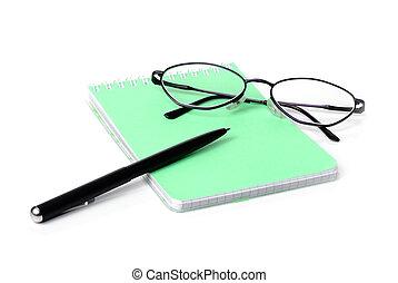 ペン, ガラス, ノート