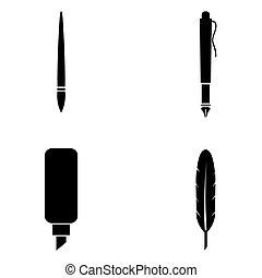 ペン, セット, アイコン