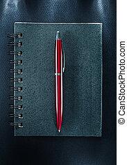 ペン, ノート, 黒, らせん状に動きなさい, 背景