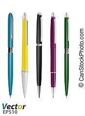 ペン, ビジネス クラス, ボールペン, 自動, vector., ベクトル, illustration.