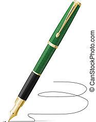ペン, ベクトル, 噴水, 隔離された, 署名