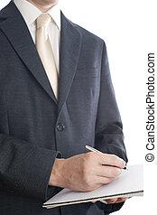 ペン, メモ用紙, ビジネス男