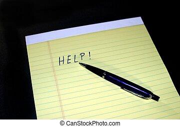 ペン, メモ用紙, 助け