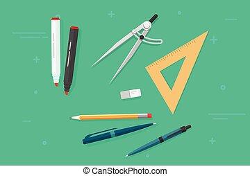 ペン, 三角形, 鉛筆, 隔離された, 定規, マーカー, オブジェクト, ベクトル, biro, コンパス, 文房具,...