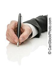 ペン, 人, 保有物, ビジネス, 手