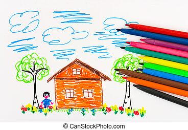 ペン, 図画, 子供