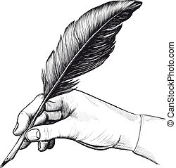 ペン, 図画, 羽, 手