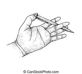 ペン, 執筆, 準備, 手を持つ