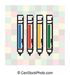 ペン, 広場, ピクセル, 背景, アイコン