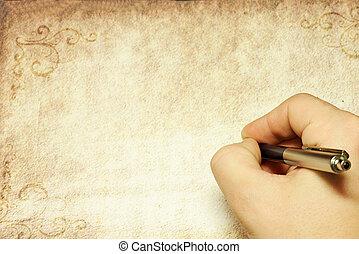 ペン, 手を持つ