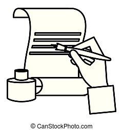 ペン, 手, 噴水, 羊皮紙, 執筆