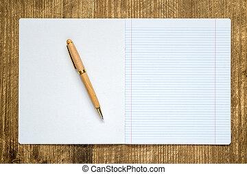 ペン, 本, 開いた, 練習, 内側を覆われた