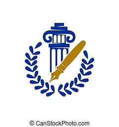 ペン, 正義, ベクトル, 葉, デザイン, 隔離された, 会社, 法律, 柱, ロゴ