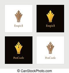 ペン, 贅沢, 城, セット, ロゴ