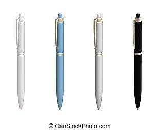 ペン, element., 様々, デザイン, ボールペン, 現実的, 白い背景, 隔離された, ベクトル, colors.