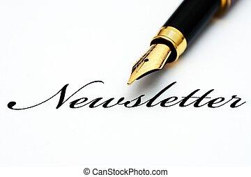 ペン, newsletter, 噴水