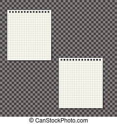 ページ, らせん状に動きなさい, mockup., ブランク, ノート, 白