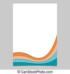 ページ, カラフルである, ポスター, -, ストライプ, ベクトル, デザイン, テンプレート, パンフレット, 曲がった