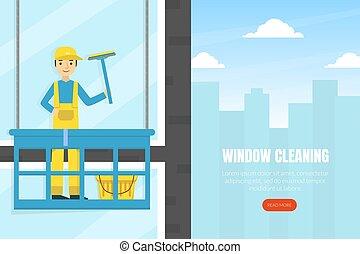 ページ, サービス, 労働者, 清掃, 窓, ホームページ, イラスト, テンプレート, 着陸, 専門家, ファサド, ウェブサイト, 建物, ユニフォーム, 平ら, ベクトル, rubing, 会社