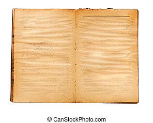 ページ, 本, 古い, 黄色, ブランク, 汚された