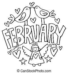 ページ, 2 月, 子供, 着色
