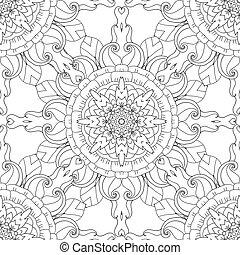 ページ, sketchy, いたずら書き, 装飾用である, seamless, adults., カール, 引かれる, 着色, ベクトル, pattern., 手, 自然, 装飾用