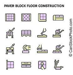 ペーバー, ブロック, 床