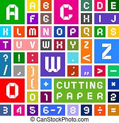 ペーパーを切りなさい, アルファベット, 多色刷り, 背景, 白