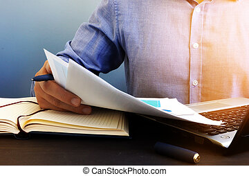 ペーパーワーク, オフィス, audit., 点検, report., 会計検査官, 財政