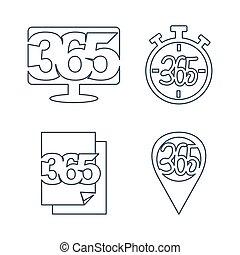 ペーパー, アウトライン, アイコン, 時間, モニター, ロゴ, 無限点, デザイン, 365, ピン