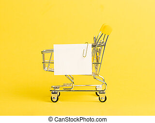 ペーパー, カート, 黄色, 白, 買い物, メモ, リスト