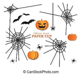ペーパー, クモの巣, style., 要素, くも, template., カボチャ, セット, ハロウィーン, 切口, デザイン, コウモリ