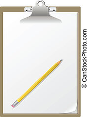 ペーパー, クリップボード, pencil., ブランク