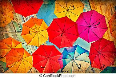 ペーパー, グランジ, カラフルである, 傘