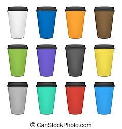 ペーパー, コーヒーカップ, セット