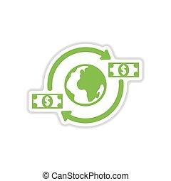 ペーパー, ステッカー, 白, 背景, 地球, お金