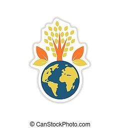 ペーパー, ステッカー, 白, 背景, 地球, 植物