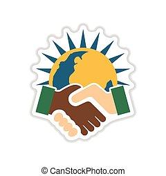 ペーパー, ステッカー, 白, 背景, 握手, 地球