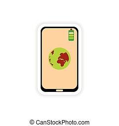 ペーパー, ステッカー, 白, 背景, 移動式 電話, 地球