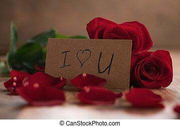 ペーパー, テーブル, 愛, 赤, あなた, カード, 木, ばら