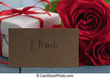 ペーパー, テーブル, 赤, 3月, カード, 8, 木, ばら