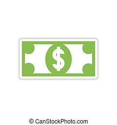 ペーパー, ドル, 背景, 白, ステッカー
