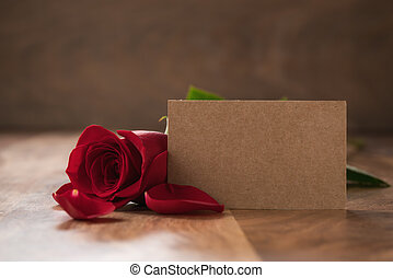 ペーパー, バラ, テーブル, レッドカード, 木