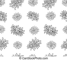 ペーパー, パターン, バックグラウンド。, texture., 織物, ベクトル, 立案者, 植物, 手, 白い花, 隔離された, 包むこと, 菊, 無限, print., 引かれる, カバー, seamless, 生地, notebook.