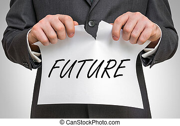 ペーパー, ビジネスマン, 未来, 引き裂くこと, 単語