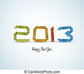 ペーパー, ベクトル, カード, 年, 新しい, 2013, 幸せ