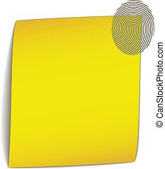 ペーパー, ベクトル, 曲がり, 黄色, 指紋