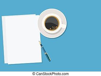 ペーパー, ペン, コーヒー, 暑い